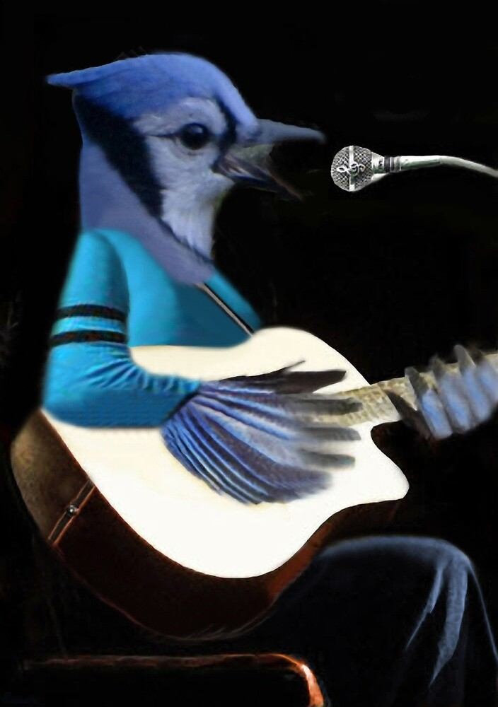 **¨*•MY BLUE JAY PLAYING GUITAR AND SINGING ME A SONG PICTURE /CARD>> ALSO ANIMATED HIM **¨*• by ✿✿ Bonita ✿✿ ђєℓℓσ