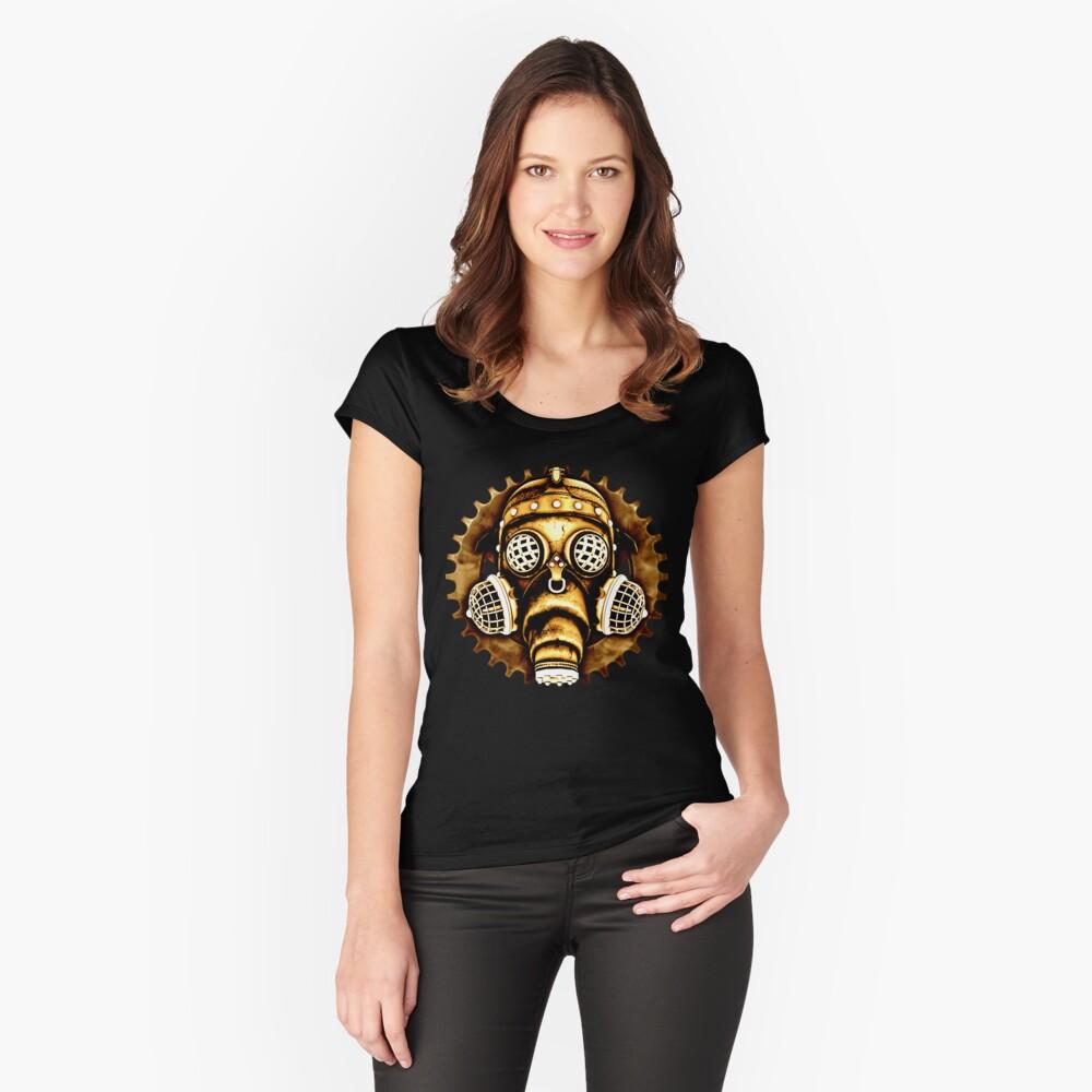 Steampunk/Cyberpunk Gas Mask #1D Steampunk T-Shirts Women's Fitted Scoop T-Shirt Front