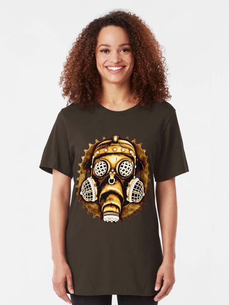 Alternate view of Steampunk/Cyberpunk Gas Mask #1D Steampunk T-Shirts Slim Fit T-Shirt
