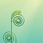 Chamouflaged green Chameleon lizard by Diana Hlevnjak