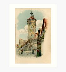 Aquarelle watercolor Rothenburg ob der Tauber Art Print