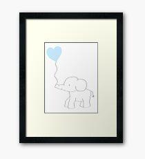 Elephant Love (Blue) Framed Print