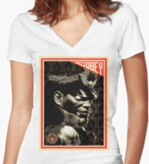 M. Bison Women's Fitted V-Neck T-Shirt