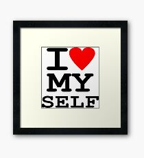 Parody, satire, humour, I heart MY self Framed Print