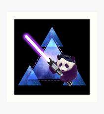 Galactic Panda With Lightsaber Art Print