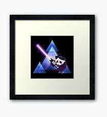 Galactic Panda With Lightsaber Framed Print