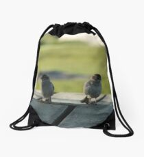 Birds On The Docks Drawstring Bag