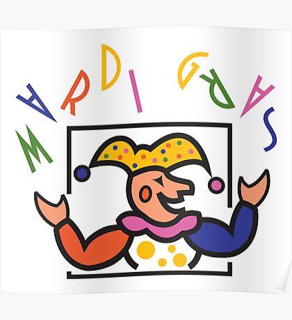 Mardi Gras Jester New Orleans NOLA Poster