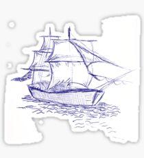 pirate ship blue drawing Sticker