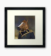 Aristokratischer allgemeiner Offizier mit Pferdekopf-Masken-Ölgemälde-Art-Porträt Gerahmtes Wandbild