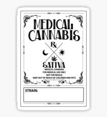 Medical Cannabis vintage style Sativa Label Sticker