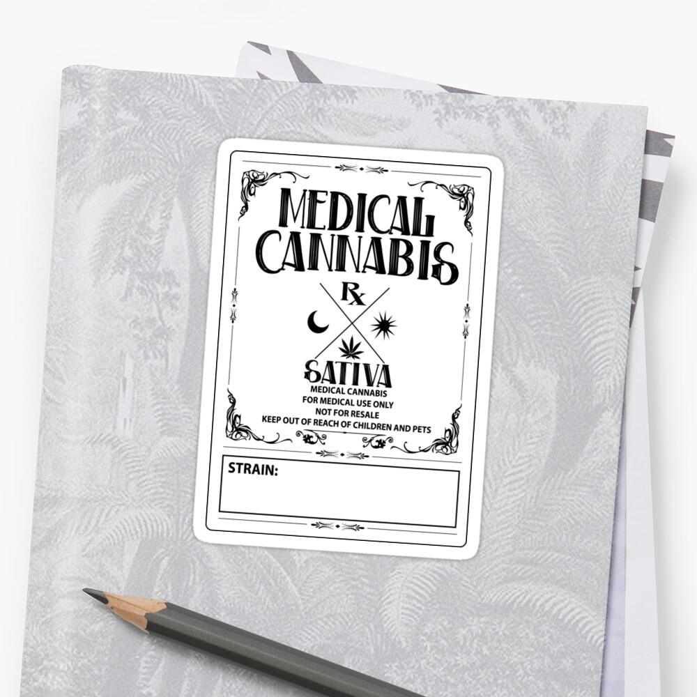 Estilo vintage de cannabis medicinal Sativa Label Pegatina