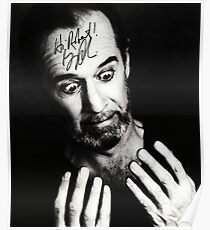 "George Carlin B/W Autographed Photo ""Hi Robert"" Poster"