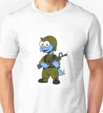 Illustration of a Stegosaurus soldier. Unisex T-Shirt