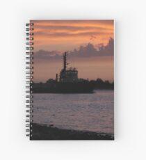 Tugging Along At Sunset Spiral Notebook