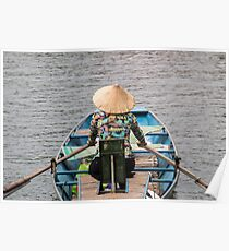 Vietnamese Lady Boat on Ngo Dong River Tam Coc Poster