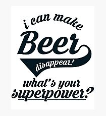 I can make BEER disappear! - version 2 - dark blue / navy Photographic Print