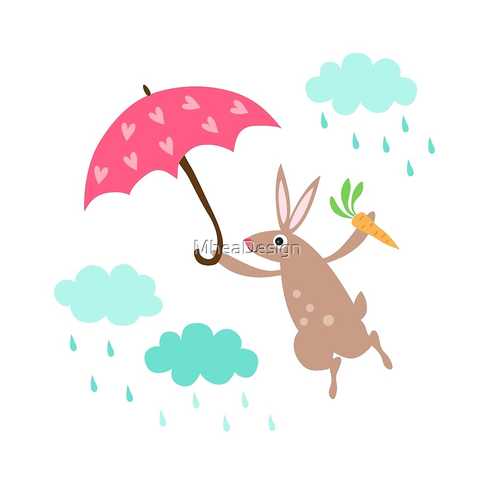 Cute rabbit with heart umbrella and rain clouds wall art for children by MheaDesign
