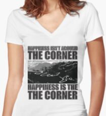 Happy Corner Fitted V-Neck T-Shirt