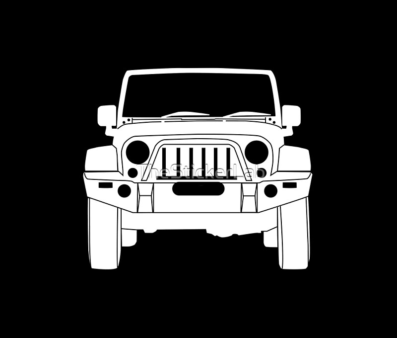Full Frontal Jeep Wrangler Bull Bar Tee Shirt Design White - Jeep t shirt design