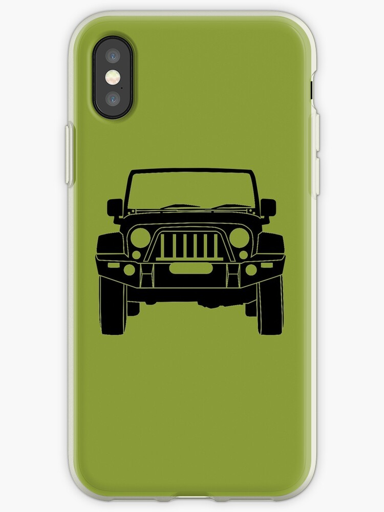 huge discount 65696 c2e11 ''Full Frontal' - Jeep Wrangler with Bull Bar Tee Shirt Design - Black'  iPhone Case by TheStickerLab