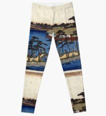 Benten Shrine Shinobazu Pond - Hiroshige Ando - 1837 - woodcut Leggings
