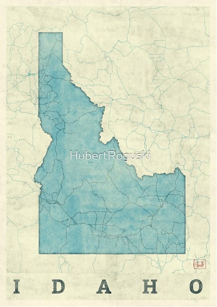 Idaho State Map Blue Vintage\