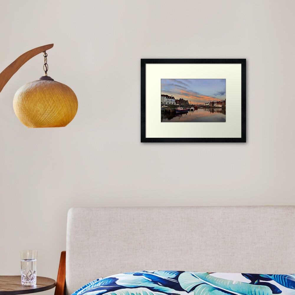 Whitby Harbour at Sunset Framed Art Print