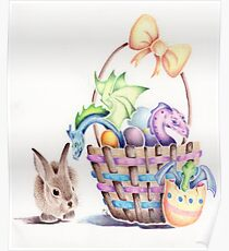 A basket of Easter Dragons Poster