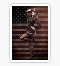 Sexy officer of the American forces in World War II Sticker