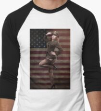 Sexy officer of the American forces in World War II Baseball ¾ Sleeve T-Shirt