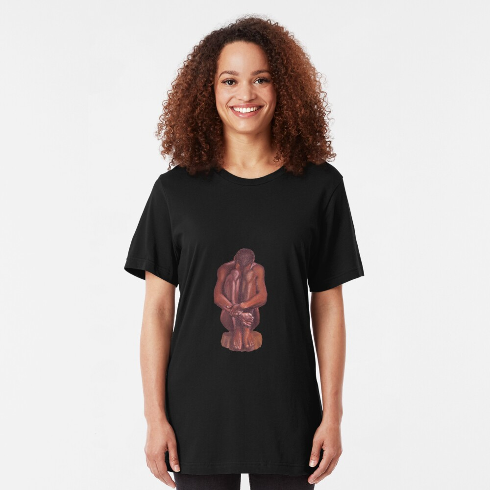Nude seated man Slim Fit T-Shirt