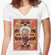 God Guy Fieri's Hot Dog Diggityverse Women's Fitted V-Neck T-Shirt