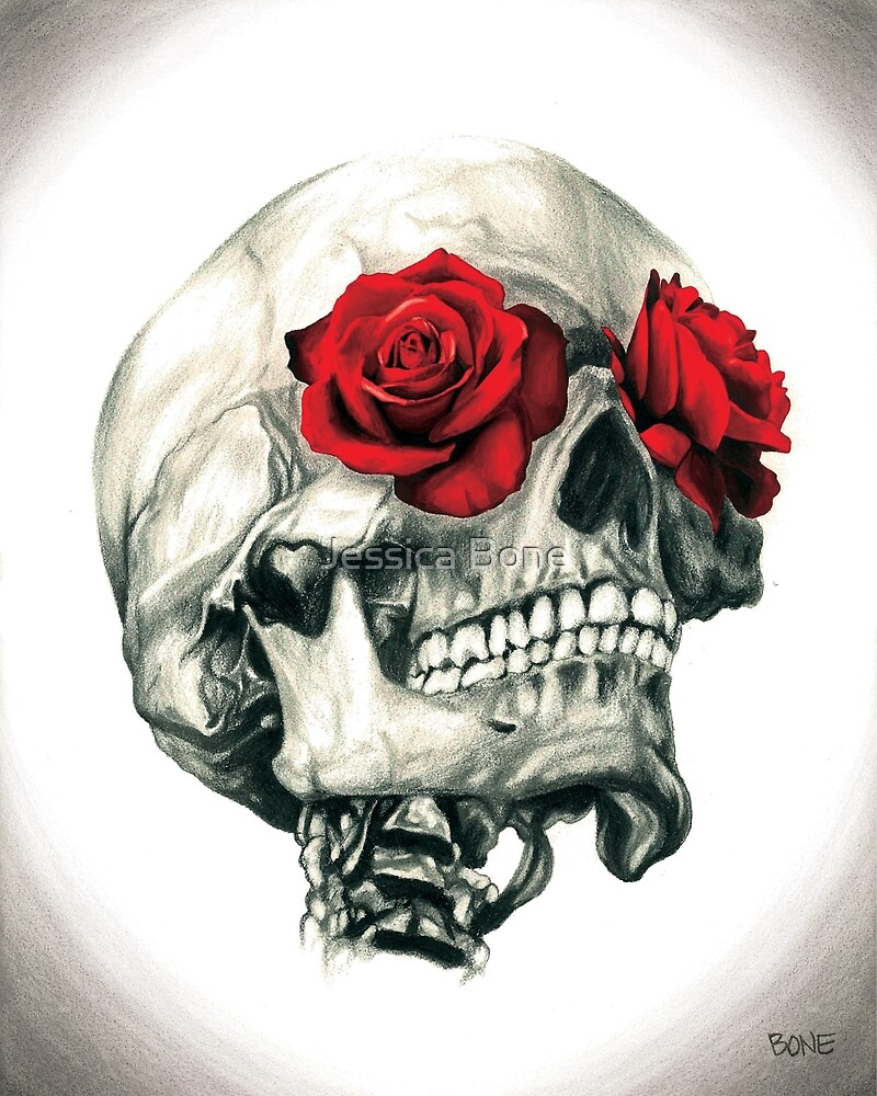 Rose Eye Skull by Jessica Bone