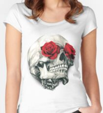 Rose Eye Skull Women's Fitted Scoop T-Shirt