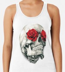 Rose Eye Skull Racerback Tank Top