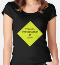 Caution: Photographer at work Women's Fitted Scoop T-Shirt