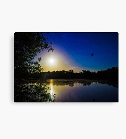 Sun Going Down Over UEA Lake, Norwich, England Canvas Print