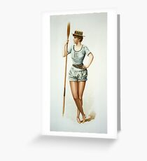 Vintage Female Rower with Oar Greeting Card