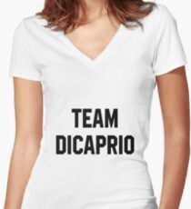 Team Dicaprio - Black Text Women's Fitted V-Neck T-Shirt