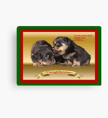 Vector Rottweiler Puppy Christmas Wishes  Canvas Print