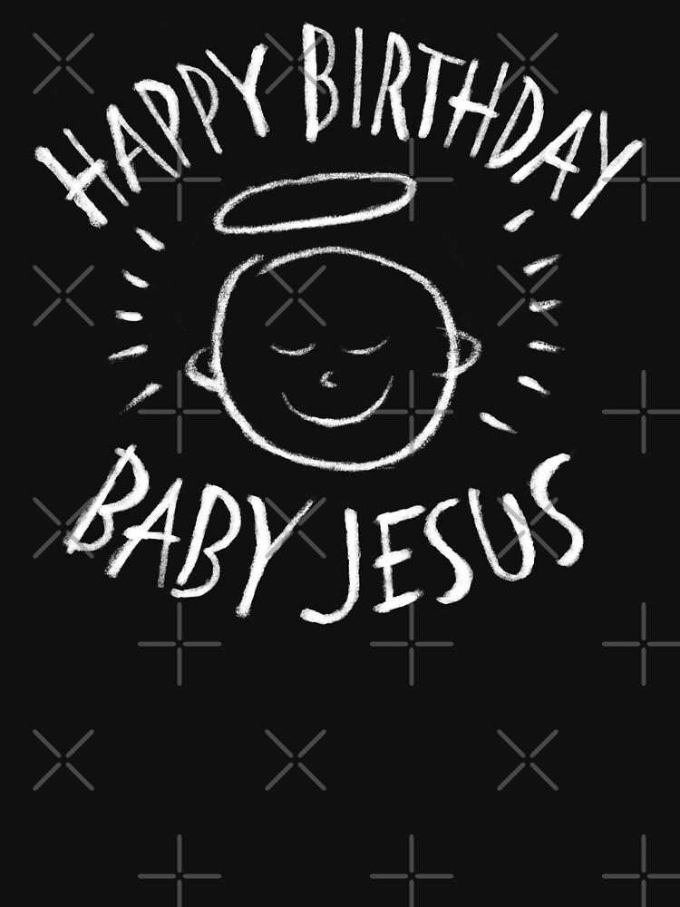Frohe Weihnachten Jesus.Alles Gute Zum Geburtstag Baby Jesus Religiose Tafel Frohe Weihnachten Kreide Tailliertes Rundhals Shirt Fur Frauen