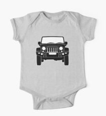'Full Front Steel Bull Bar' Sticker / Decal Design for Jeep Wrangler Fans - Black Outline One Piece - Short Sleeve