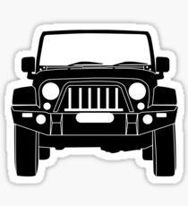 'Full Front Steel Bull Bar' Sticker / Decal Design for Jeep Wrangler Fans - Black Outline Sticker