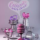 Celebrate Our Love Valentine Hearts Crystal Silver Glasses by Beverly Claire Kaiya