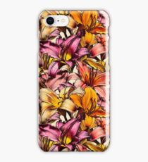 Daylily Drama - a floral illustration pattern iPhone Case/Skin