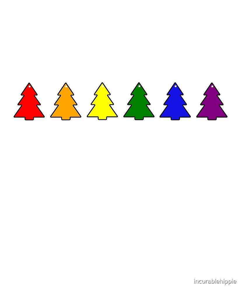 Little gay rainbow Christmas trees LGBT by incurablehippie