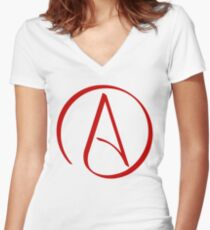 Atheist Symbol Women's Fitted V-Neck T-Shirt