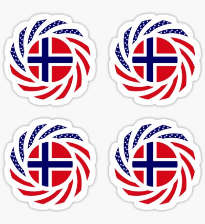Norwegian American Multinational Patriot Flag Series 1.0 Sticker