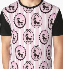 Poodles With Pink Ribbons Graphic T-Shirt